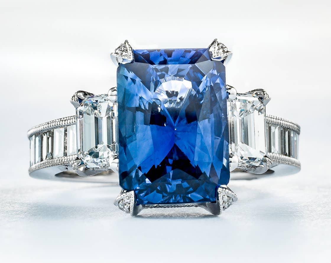 Custom emerald cut sapphire ring