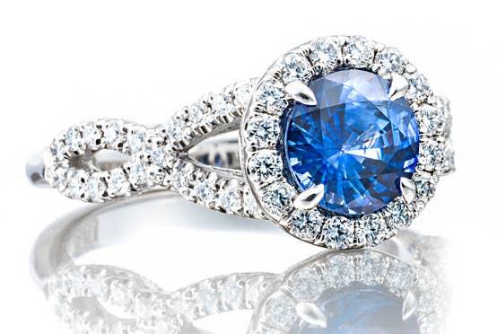 Blue center stone ring by Tacori.com