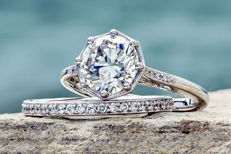 Close up of Tacori's Simply Tacori bridal rings