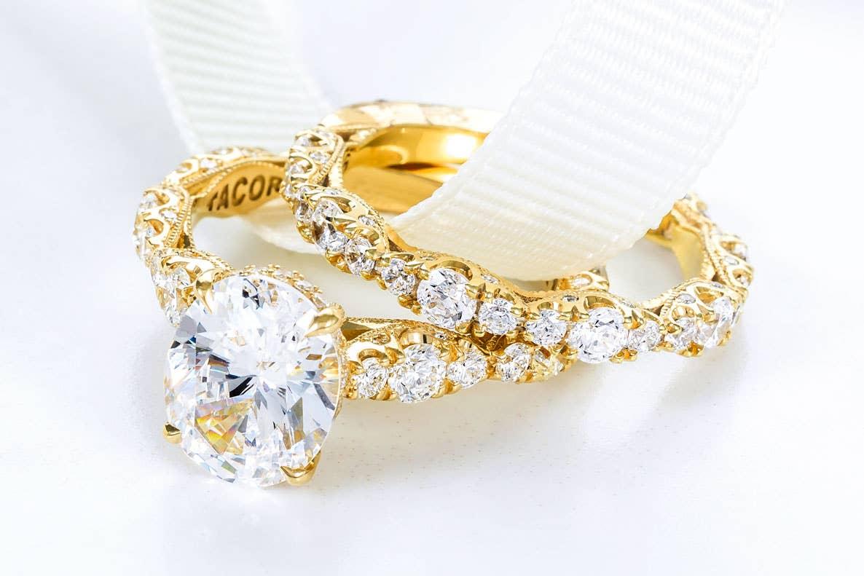 Close up of Tacori's Petite Crescent bridal rings