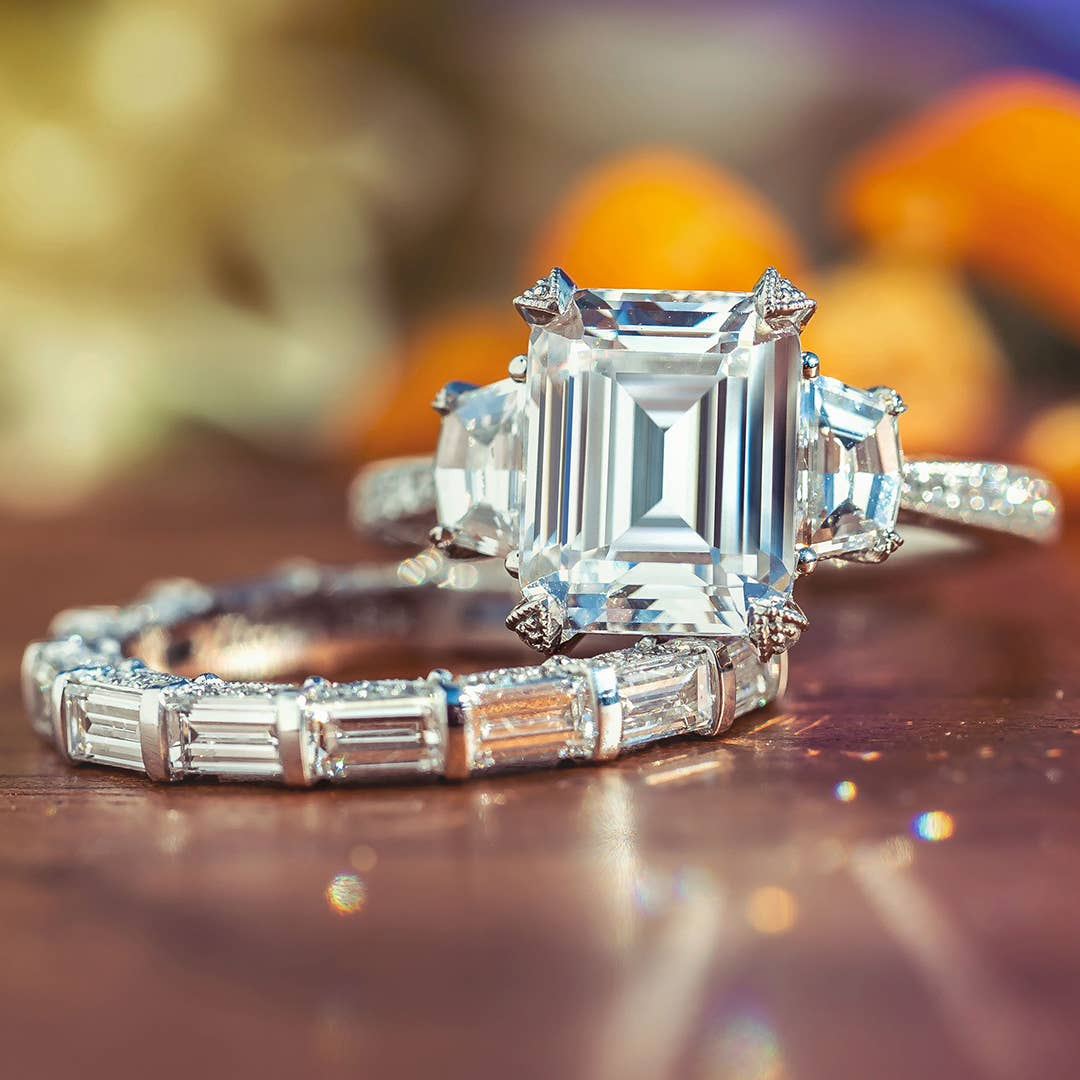 Tacori engagement ring and wedding band in emerald cut