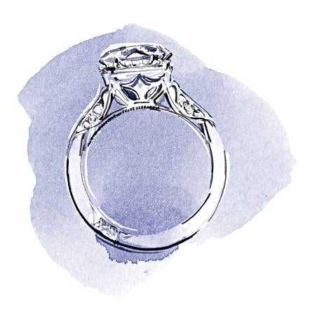 Watercolor painting of Tacori engagement ring