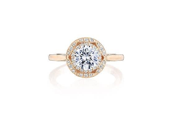 Crescent Chandelier bloom engagement ring by Tacori on white background