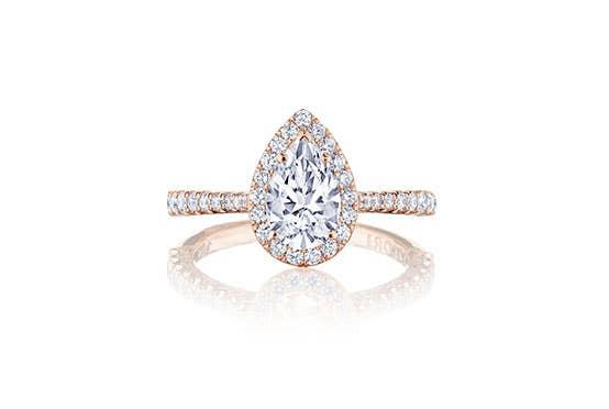 Simply Tacori engagement ring on white background