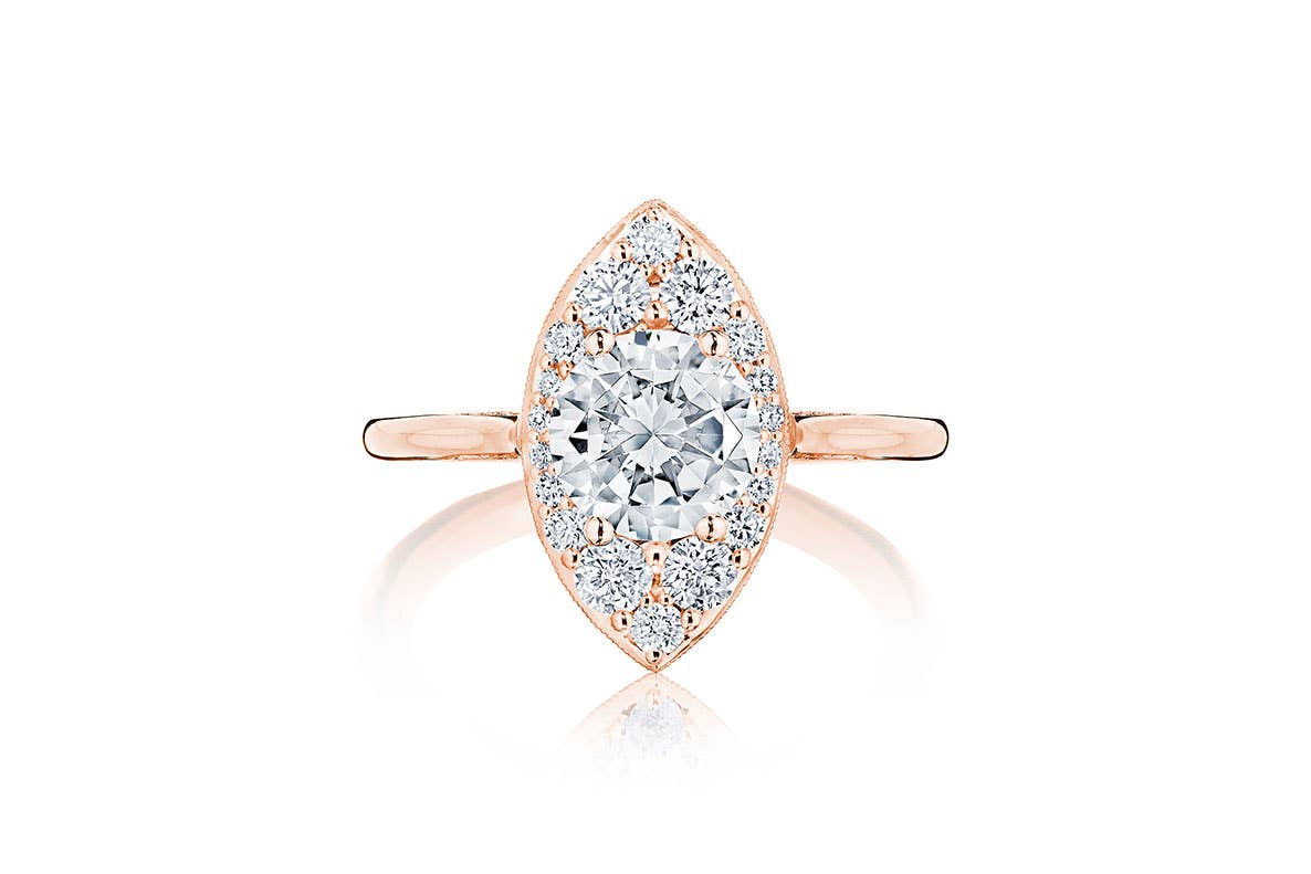 Inflori engagement ring by Tacori on white background