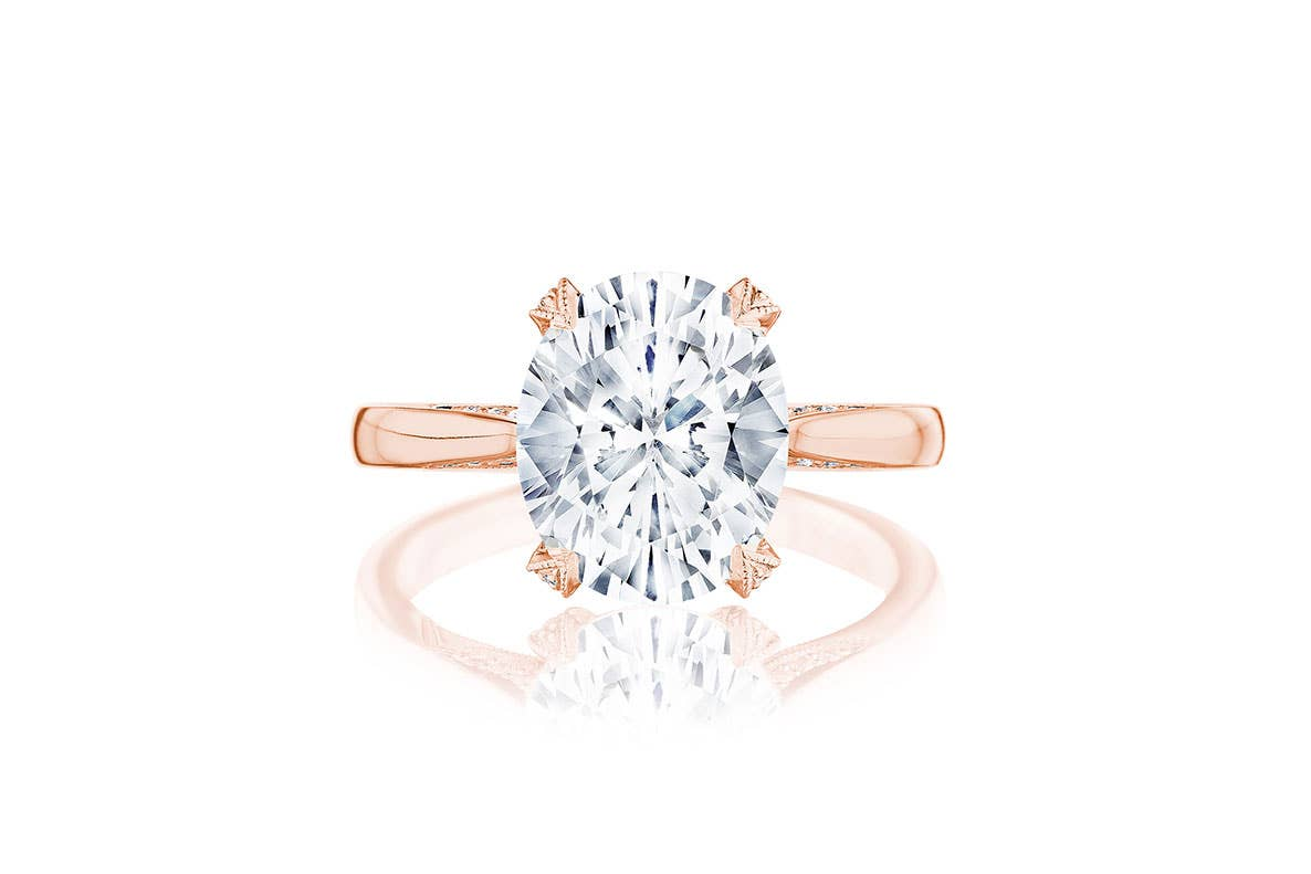 RoyalT oval engagement ring from Tacori on white background