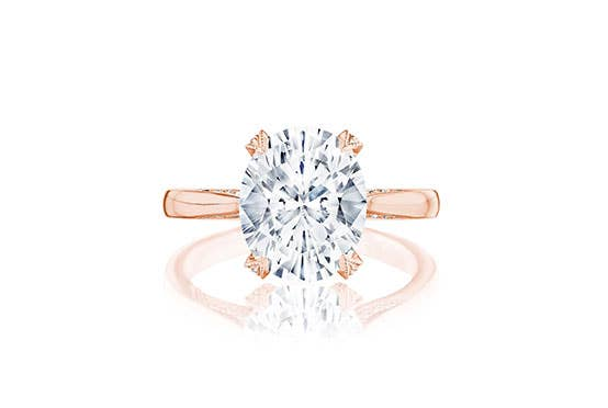 Oval RoyalT engagement ring from Tacori on white background