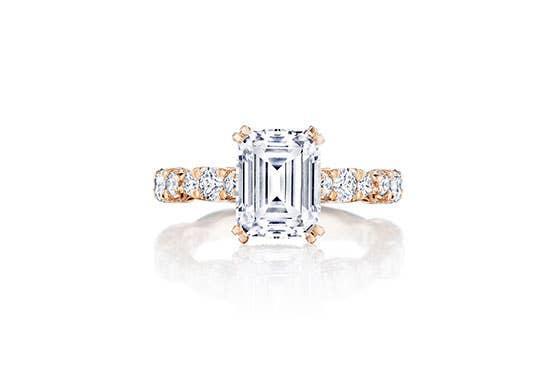 Emerald cut RoyalT engagement ring by Tacori on white background