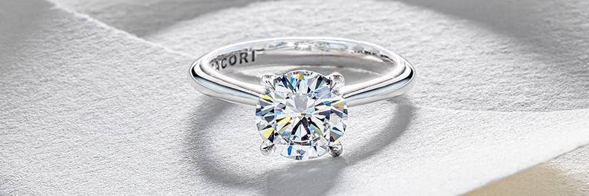 Tacori round-cut engagement ring in platinum