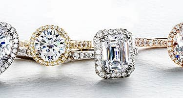 Close up of 4 Tacori Bloom engagement rings