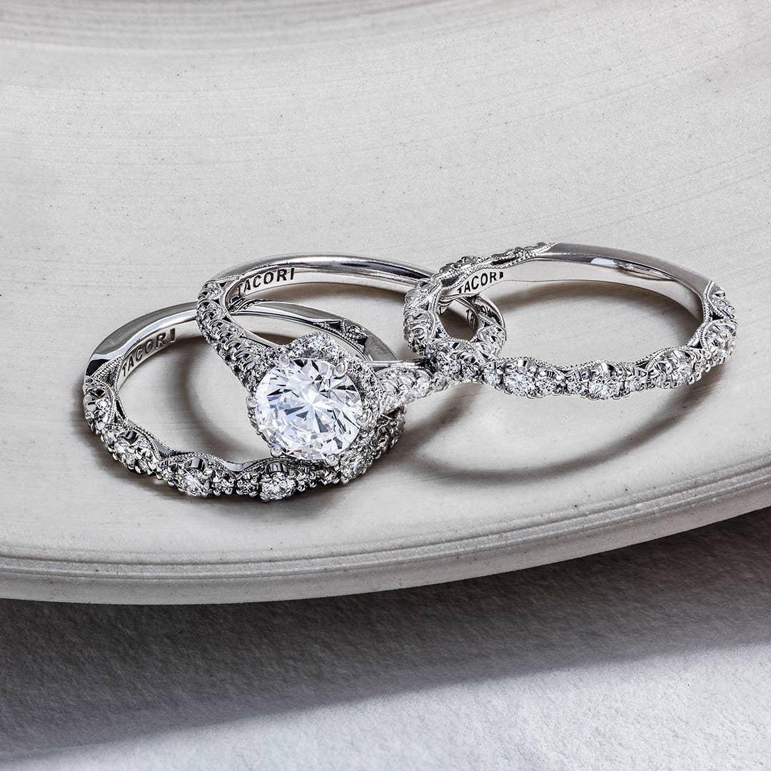 Three of Tacori's matching wedding bands in platinum