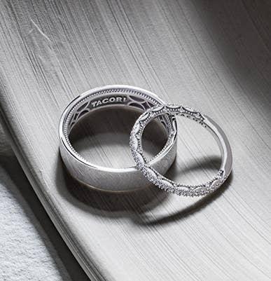 Matching pair of platinum Tacori wedding bands