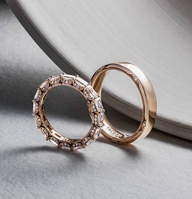 A pair of matching gold Tacori wedding bands